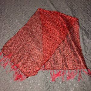 Red and black detailed sheer scarf